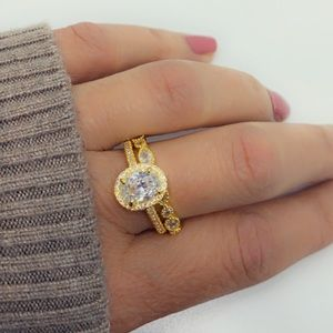 Oval Cut CZ Diamond Halo 2 Piece Gold Ring